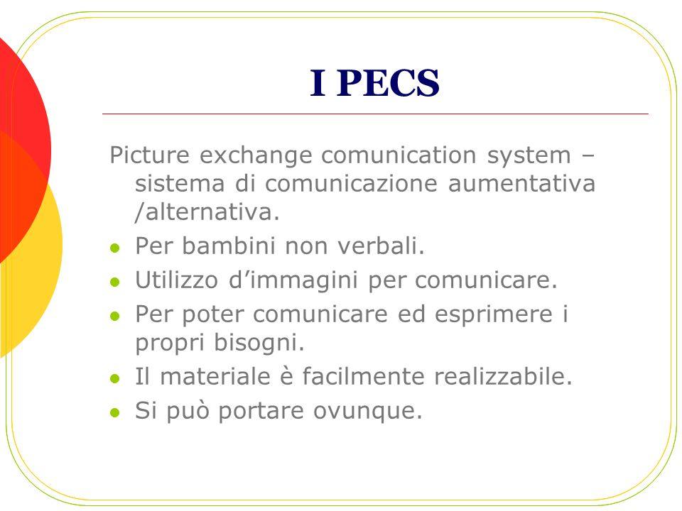 I PECS Picture exchange comunication system – sistema di comunicazione aumentativa /alternativa. Per bambini non verbali. Utilizzo dimmagini per comun