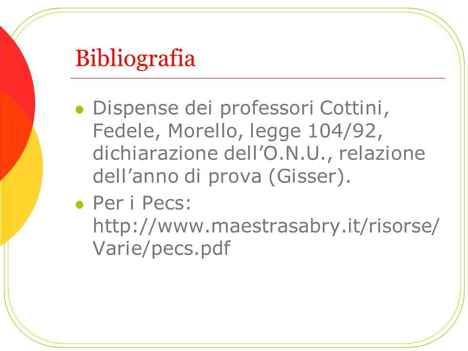 Bibliografia Dispense dei professori Cottini, Fedele, Morello, legge 104/92, dichiarazione dellO.N.U., relazione dellanno di prova (Gisser). Per i Pec