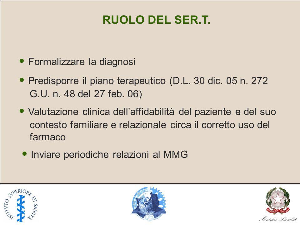 RUOLO DEL SER.T. Formalizzare la diagnosi Predisporre il piano terapeutico (D.L. 30 dic. 05 n. 272 G.U. n. 48 del 27 feb. 06) Valutazione clinica dell