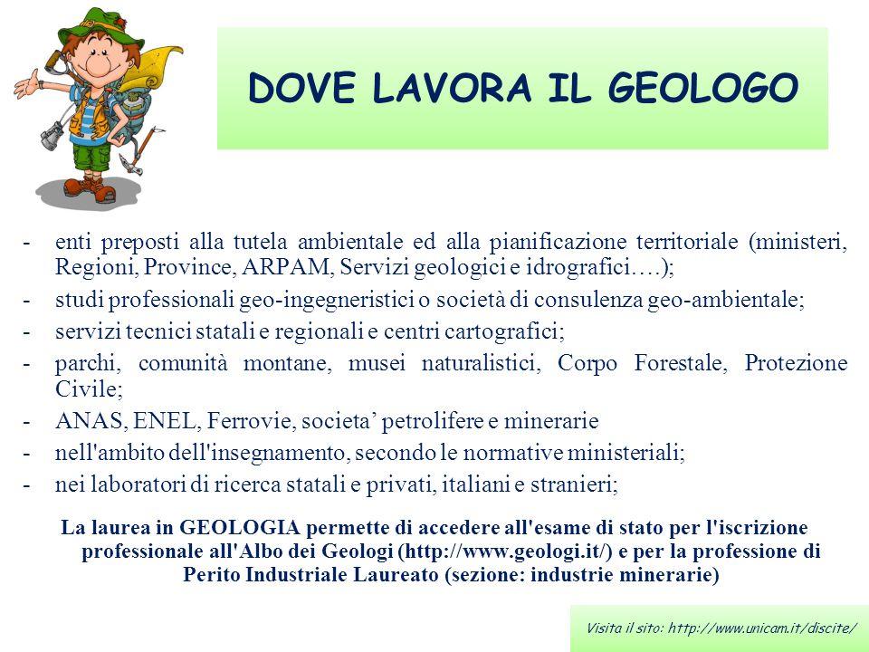 DOVE LAVORA IL GEOLOGO -enti preposti alla tutela ambientale ed alla pianificazione territoriale (ministeri, Regioni, Province, ARPAM, Servizi geologi