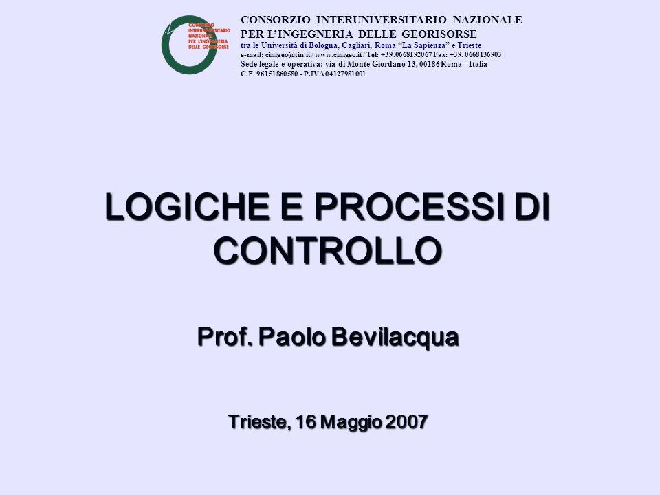 LOGICHE E PROCESSI DI CONTROLLO Prof. Paolo Bevilacqua Trieste, 16 Maggio 2007 CONSORZIO INTERUNIVERSITARIO NAZIONALE PER LINGEGNERIA DELLE GEORISORSE
