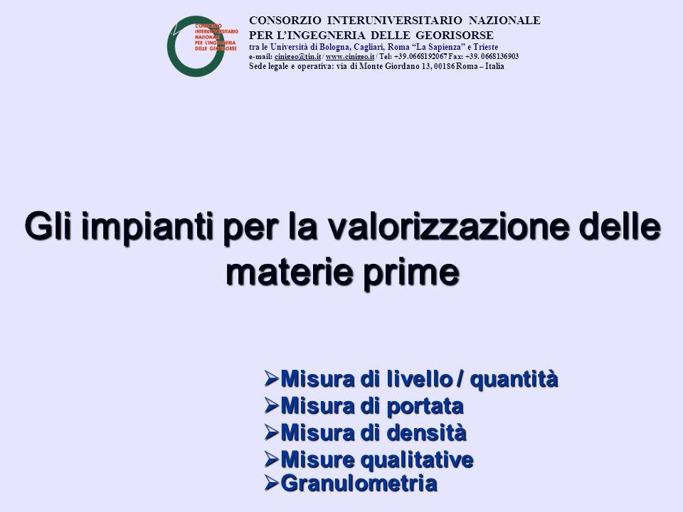Gli impianti per la valorizzazione delle materie prime Misura di portata Misura di portata Misura di densità Misura di densità Granulometria Granulome