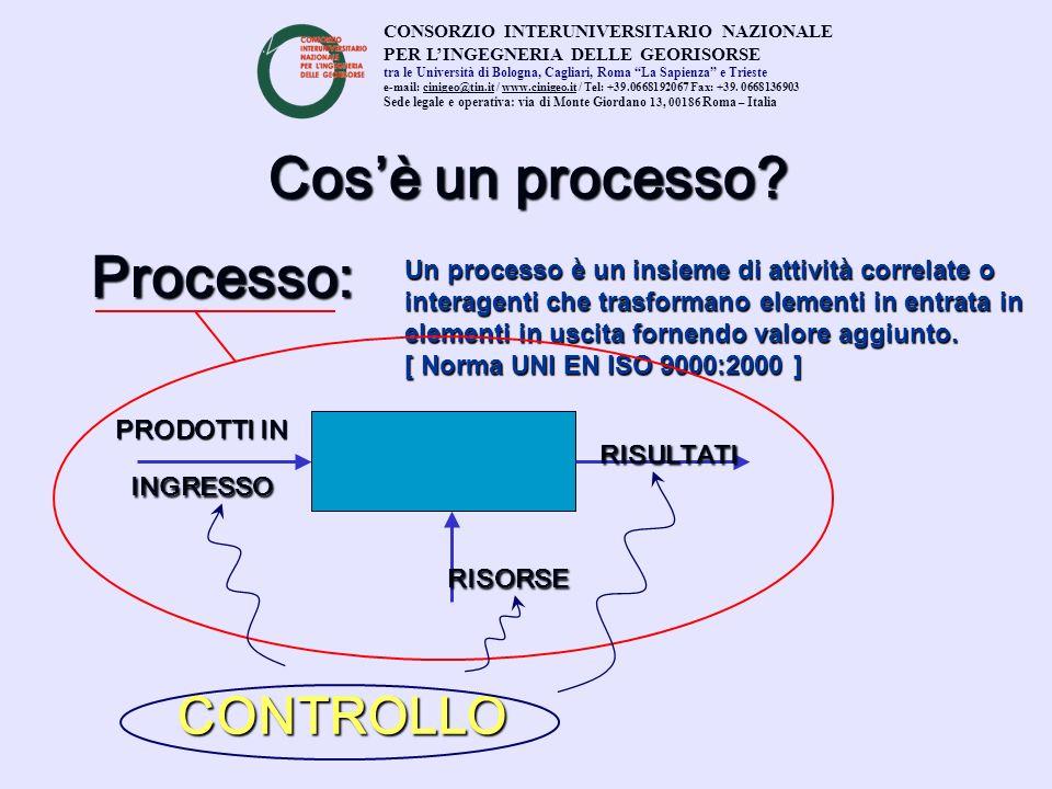 Cosè un processo? Processo: Un processo è un insieme di attività correlate o interagenti che trasformano elementi in entrata in elementi in uscita for