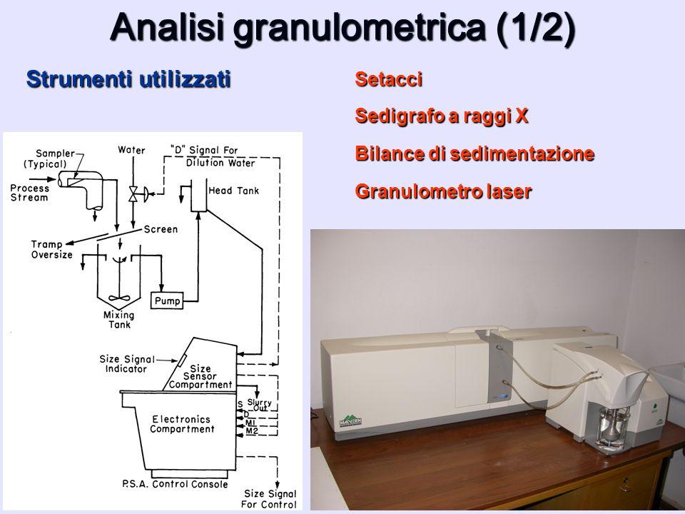 Strumenti utilizzati Analisi granulometrica (1/2) Setacci Sedigrafo a raggi X Bilance di sedimentazione Granulometro laser