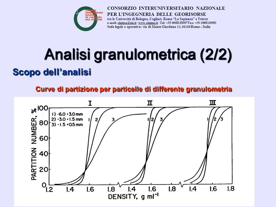 Analisi granulometrica (2/2) Scopo dellanalisi Curve di partizione per particelle di differente granulometria CONSORZIO INTERUNIVERSITARIO NAZIONALE P