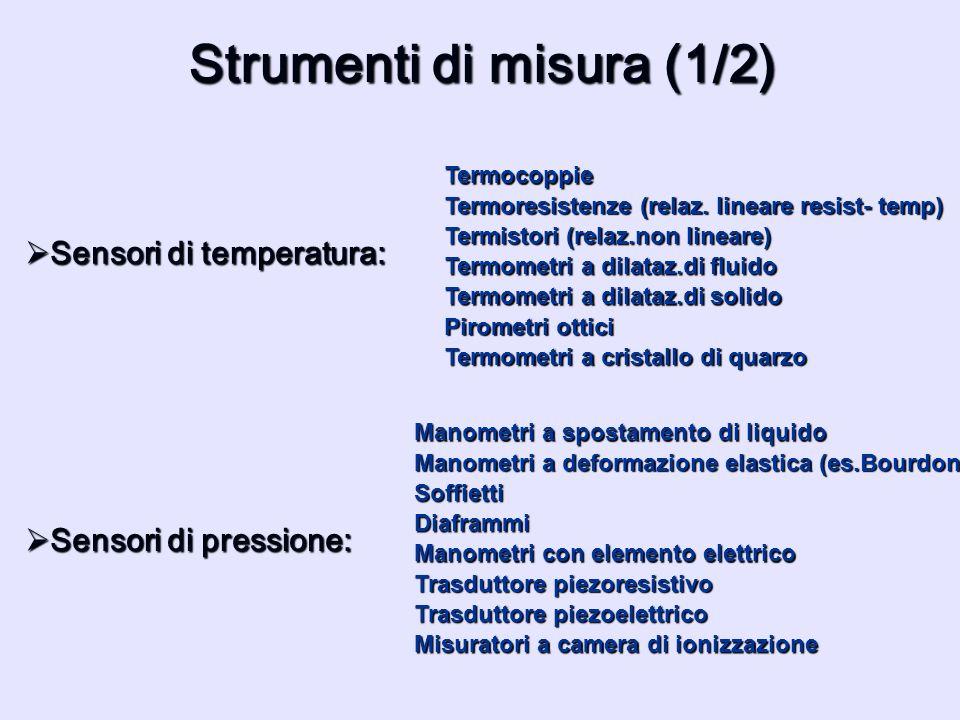 Strumenti di misura (1/2) Sensori di temperatura: Sensori di temperatura: Termocoppie Termometri a dilataz.di fluido Termoresistenze (relaz. lineare r