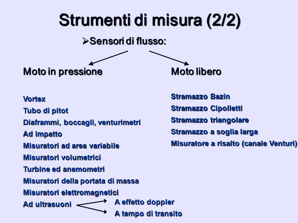 Strumenti di misura (2/2) Sensori di flusso: Sensori di flusso: Vortex Stramazzo Bazin Stramazzo Cipolletti Stramazzo a soglia larga Misuratori elettr