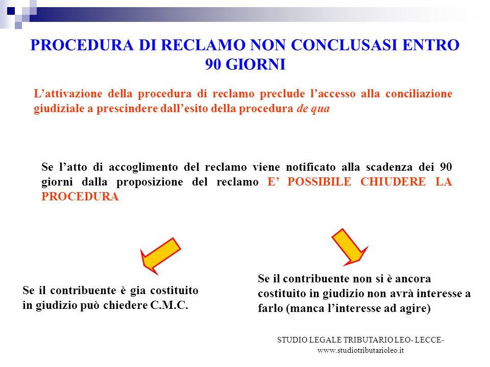 PROCEDURA DI RECLAMO NON CONCLUSASI ENTRO 90 GIORNI Lattivazione della procedura di reclamo preclude laccesso alla conciliazione giudiziale a prescindere dallesito della procedura de qua Se latto di accoglimento del reclamo viene notificato alla scadenza dei 90 giorni dalla proposizione del reclamo E POSSIBILE CHIUDERE LA PROCEDURA Se il contribuente è gia costituito in giudizio può chiedere C.M.C.