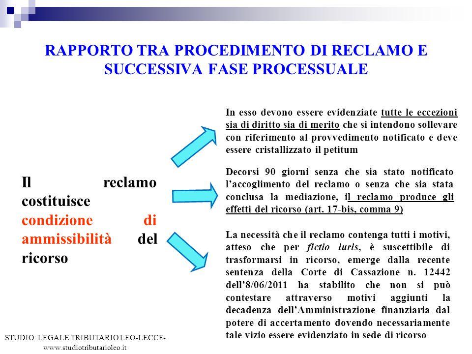 RAPPORTO TRA PROCEDIMENTO DI RECLAMO E SUCCESSIVA FASE PROCESSUALE Il reclamo costituisce condizione di ammissibilità del ricorso In esso devono esser