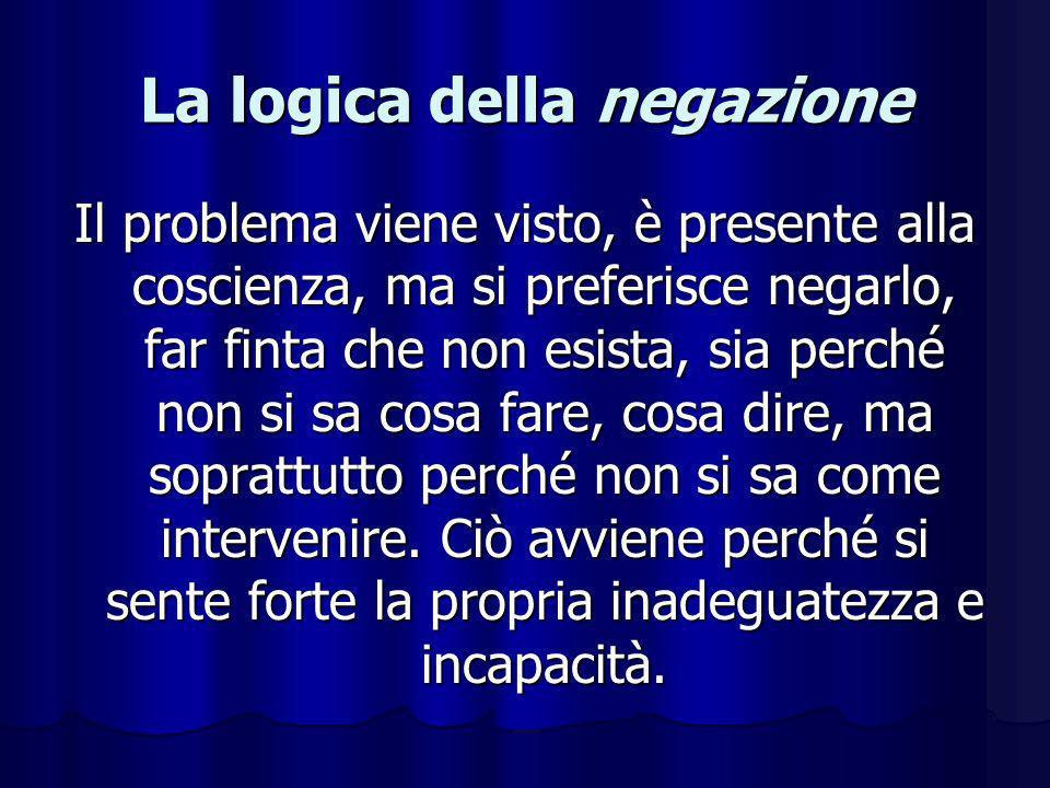 La logica della negazione Il problema viene visto, è presente alla coscienza, ma si preferisce negarlo, far finta che non esista, sia perché non si sa