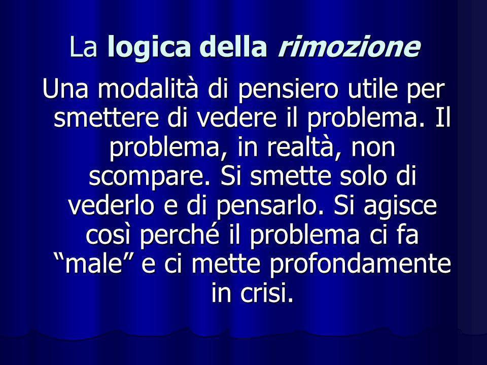 La logica della rimozione Una modalità di pensiero utile per smettere di vedere il problema. Il problema, in realtà, non scompare. Si smette solo di v