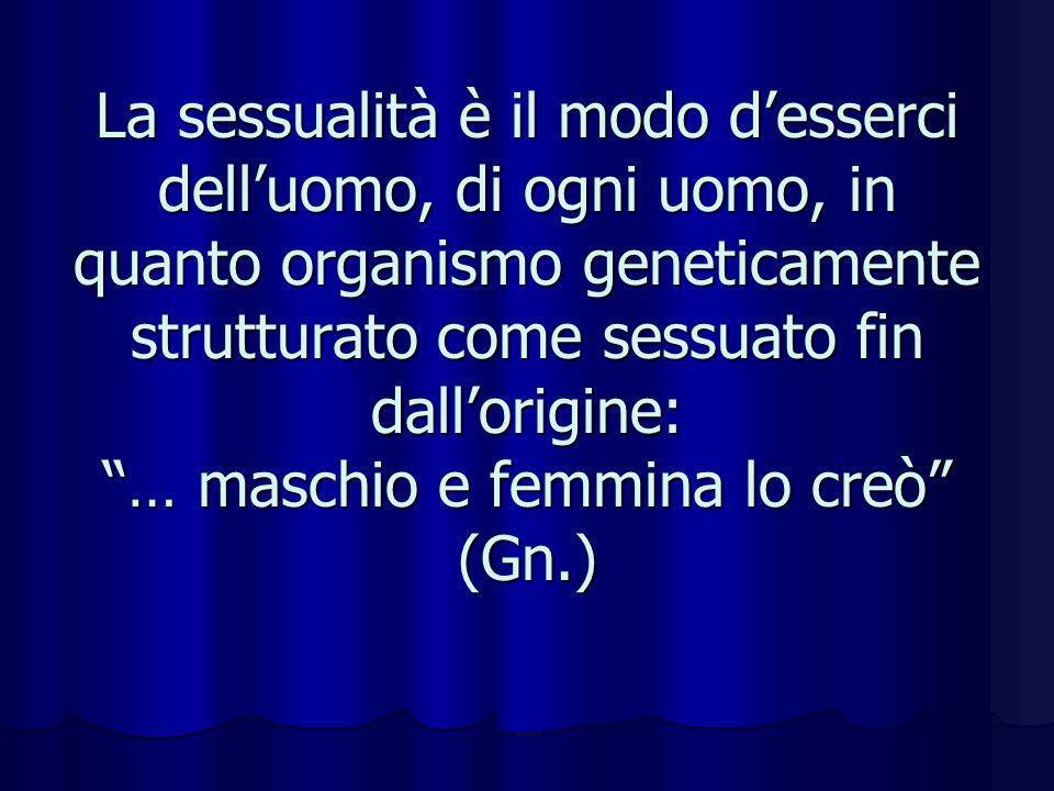 La sessualità è il modo desserci delluomo, di ogni uomo, in quanto organismo geneticamente strutturato come sessuato fin dallorigine: … maschio e femm