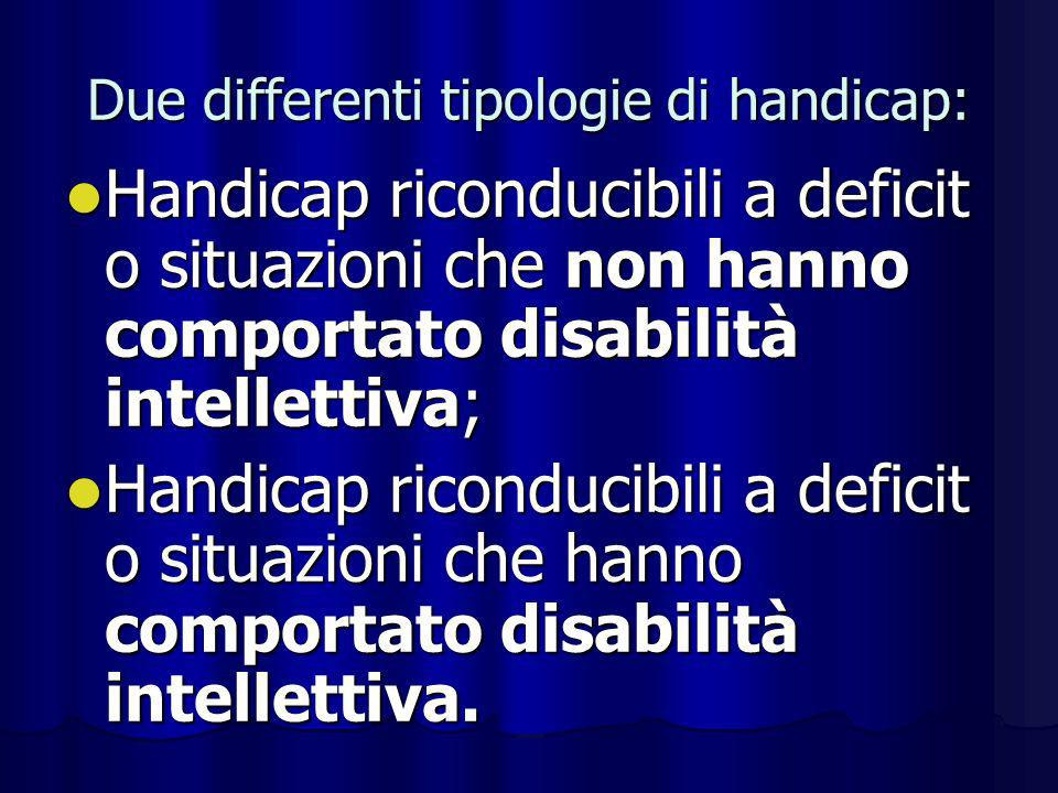 Due differenti tipologie di handicap: Handicap riconducibili a deficit o situazioni che non hanno comportato disabilità intellettiva; Handicap ricondu