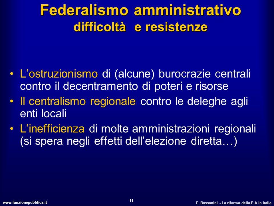 www.funzionepubblica.it F. Bassanini - La riforma della P.A in Italia 11 Federalismo amministrativo difficoltà e resistenze Lostruzionismo di (alcune)