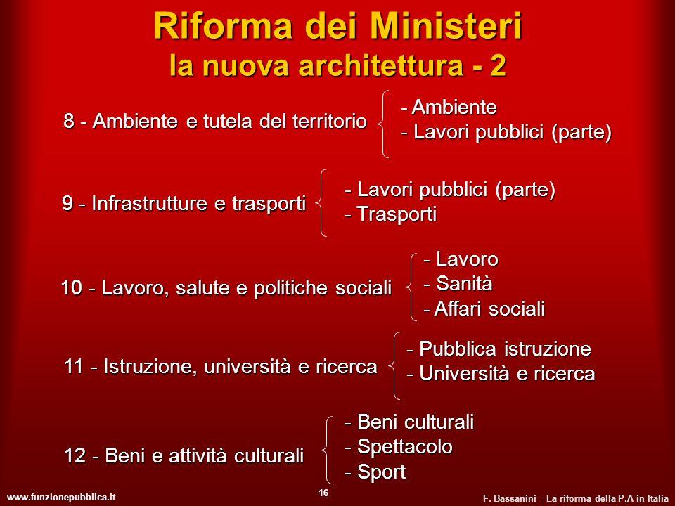 www.funzionepubblica.it F. Bassanini - La riforma della P.A in Italia 16 Riforma dei Ministeri la nuova architettura - 2 8 - Ambiente e tutela del ter