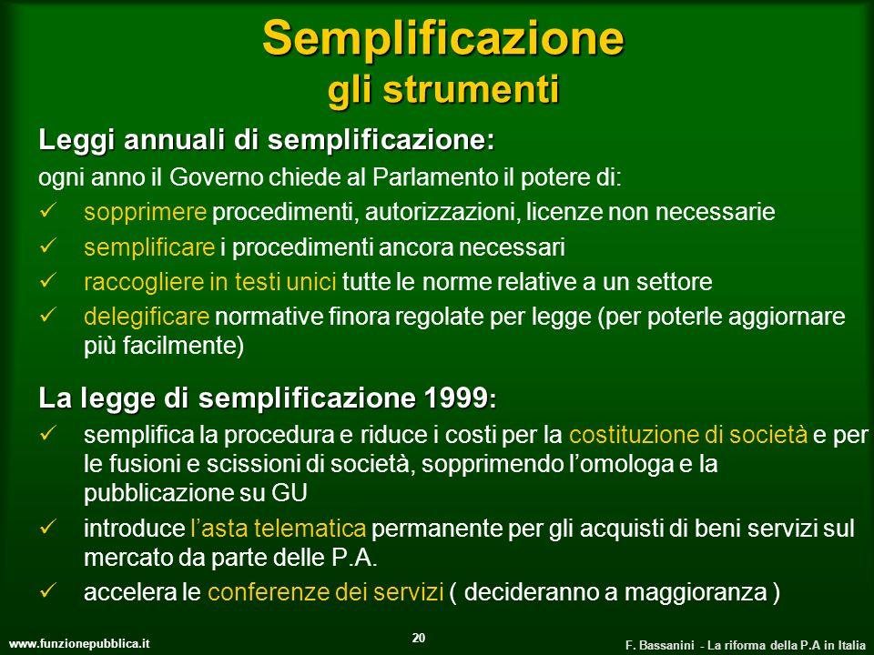 www.funzionepubblica.it F. Bassanini - La riforma della P.A in Italia 20 Semplificazione gli strumenti Leggi annuali di semplificazione: ogni anno il