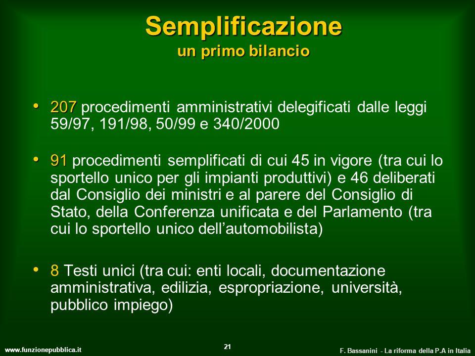 www.funzionepubblica.it F. Bassanini - La riforma della P.A in Italia 21 Semplificazione un primo bilancio 207 207 procedimenti amministrativi delegif