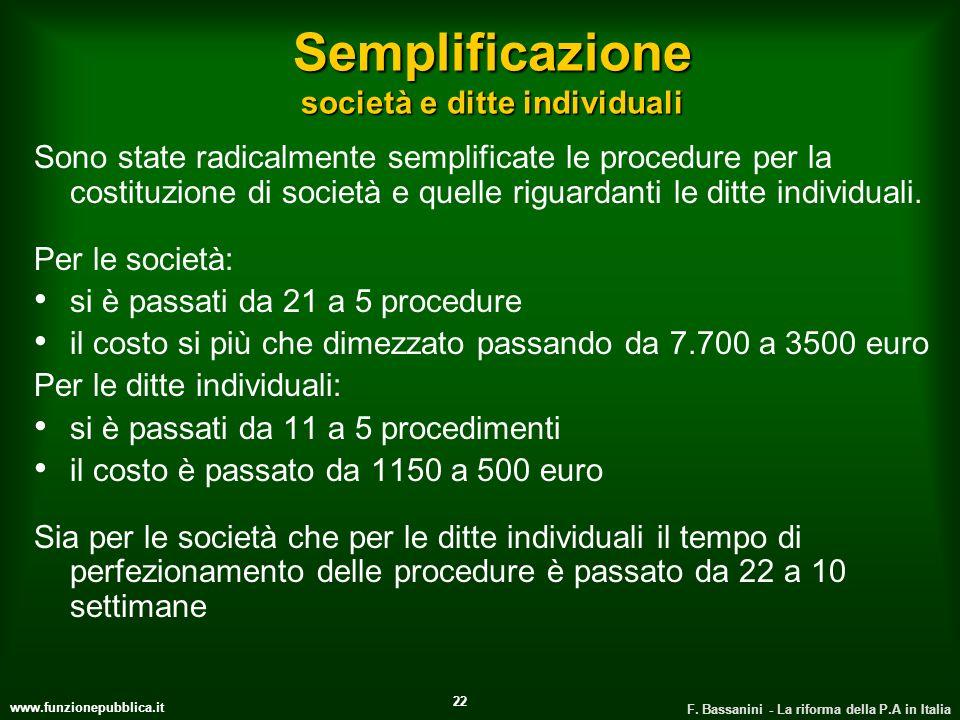 www.funzionepubblica.it F. Bassanini - La riforma della P.A in Italia 22 Semplificazione società e ditte individuali Sono state radicalmente semplific
