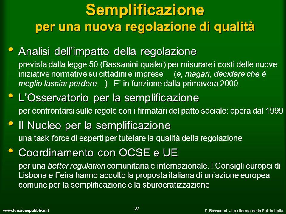 www.funzionepubblica.it F. Bassanini - La riforma della P.A in Italia 27 Semplificazione per una nuova regolazione di qualità Analisi dellimpatto dell