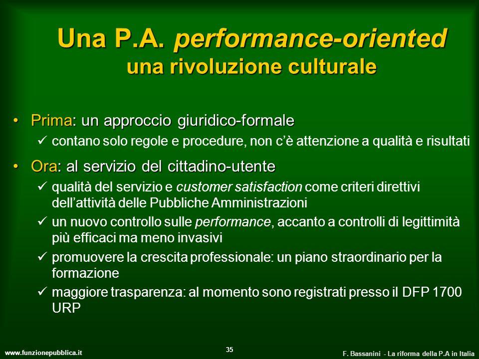 www.funzionepubblica.it F. Bassanini - La riforma della P.A in Italia 35 Una P.A. performance-oriented una rivoluzione culturale Prima: un approccio g