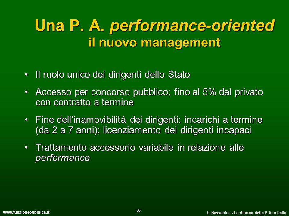 www.funzionepubblica.it F. Bassanini - La riforma della P.A in Italia 36 Una P. A. performance-oriented il nuovo management Il ruolo unico dei dirigen