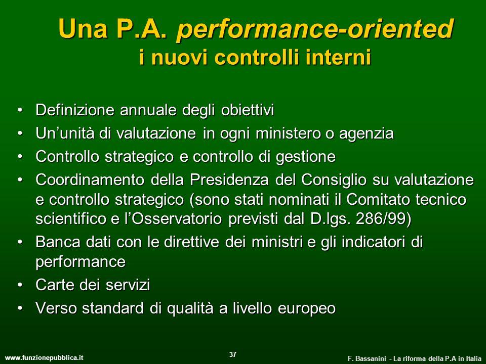 www.funzionepubblica.it F. Bassanini - La riforma della P.A in Italia 37 Una P.A. performance-oriented i nuovi controlli interni Definizione annuale d