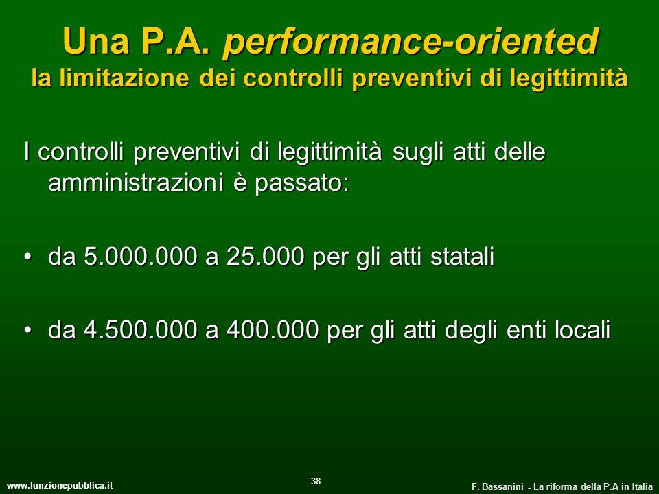 www.funzionepubblica.it F. Bassanini - La riforma della P.A in Italia 38 Una P.A. performance-oriented la limitazione dei controlli preventivi di legi