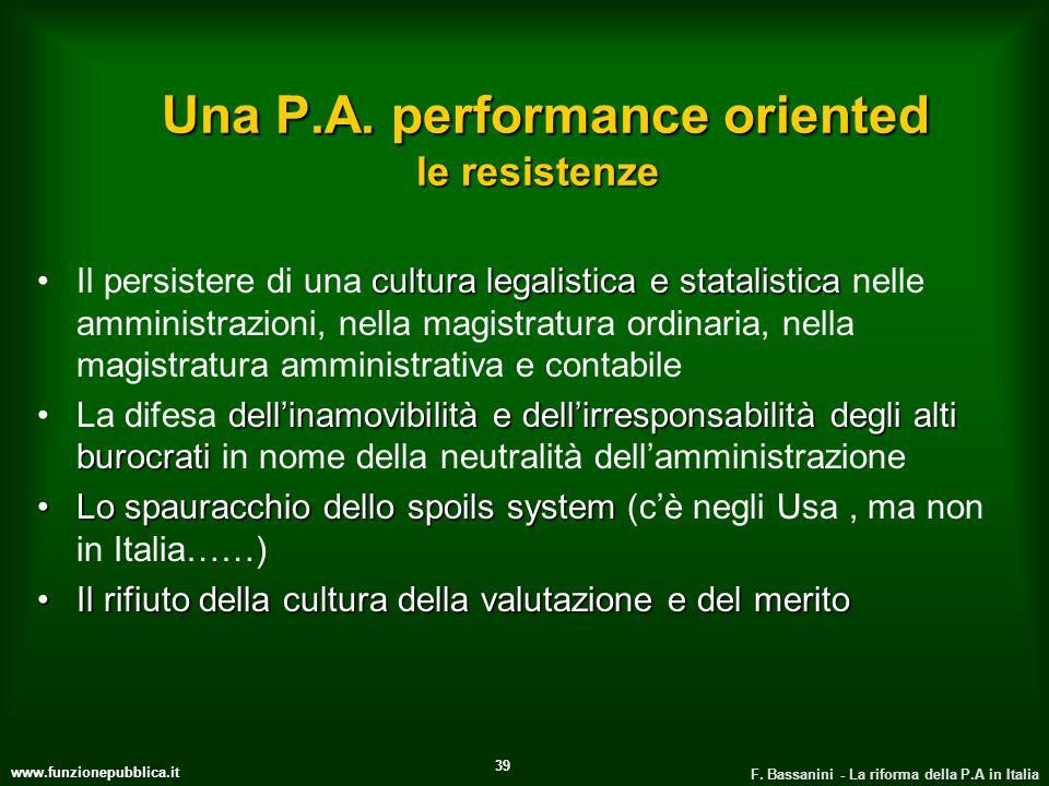 www.funzionepubblica.it F. Bassanini - La riforma della P.A in Italia 39 Una P.A. performance oriented le resistenze Una P.A. performance oriented le