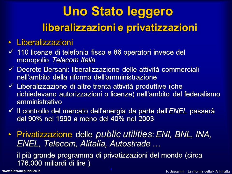 www.funzionepubblica.it F. Bassanini - La riforma della P.A in Italia 4 Uno Stato leggero liberalizzazioni e privatizzazioni LiberalizzazioniLiberaliz