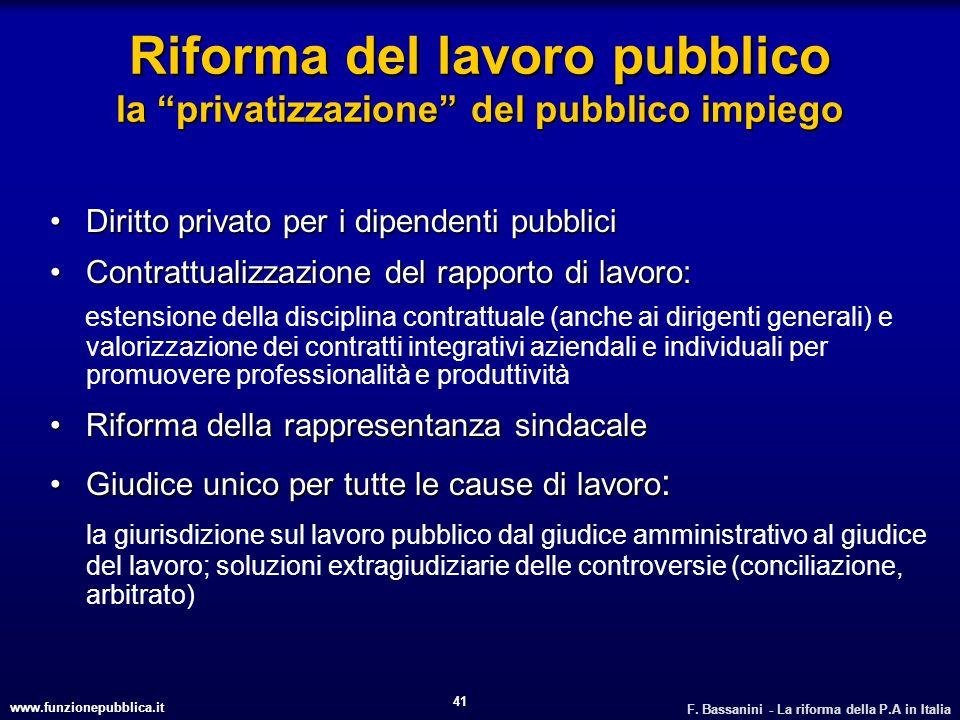 www.funzionepubblica.it F. Bassanini - La riforma della P.A in Italia 41 Riforma del lavoro pubblico la privatizzazione del pubblico impiego Diritto p