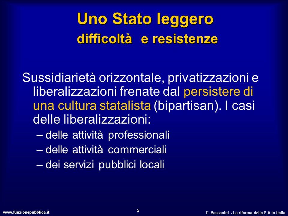 www.funzionepubblica.it F. Bassanini - La riforma della P.A in Italia 5 Uno Stato leggero difficoltà e resistenze Sussidiarietà orizzontale, privatizz