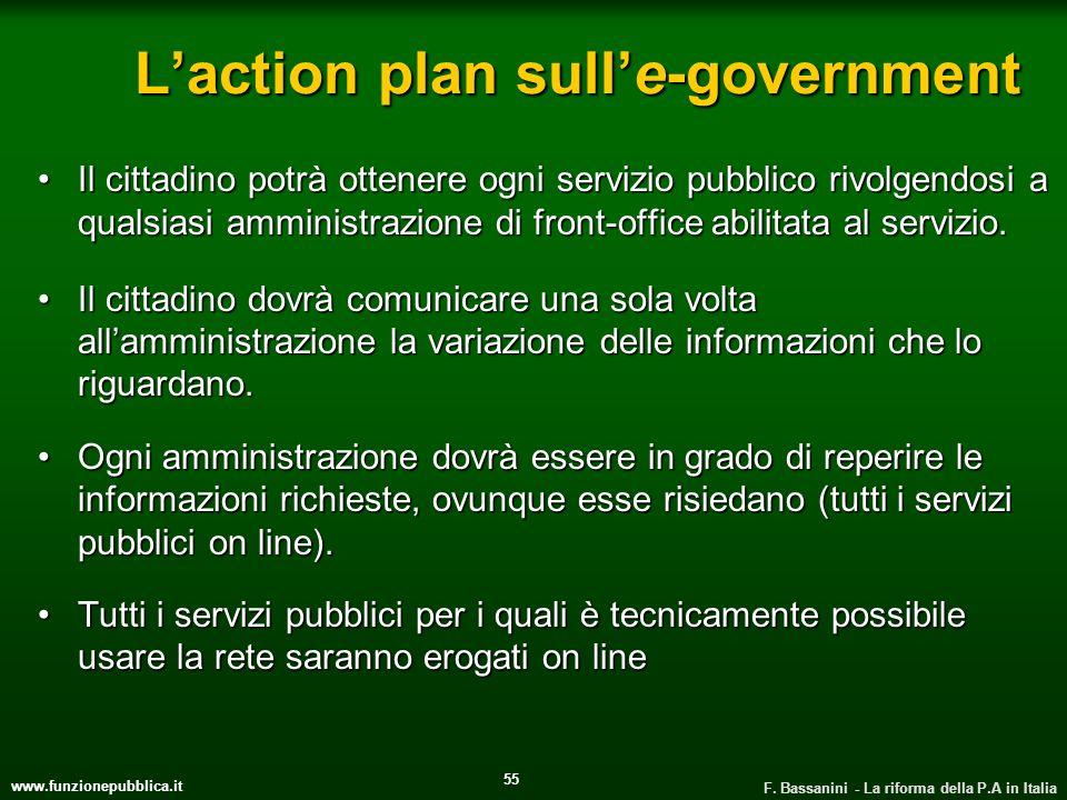 www.funzionepubblica.it F. Bassanini - La riforma della P.A in Italia 55 Laction plan sulle-government Il cittadino potrà ottenere ogni servizio pubbl