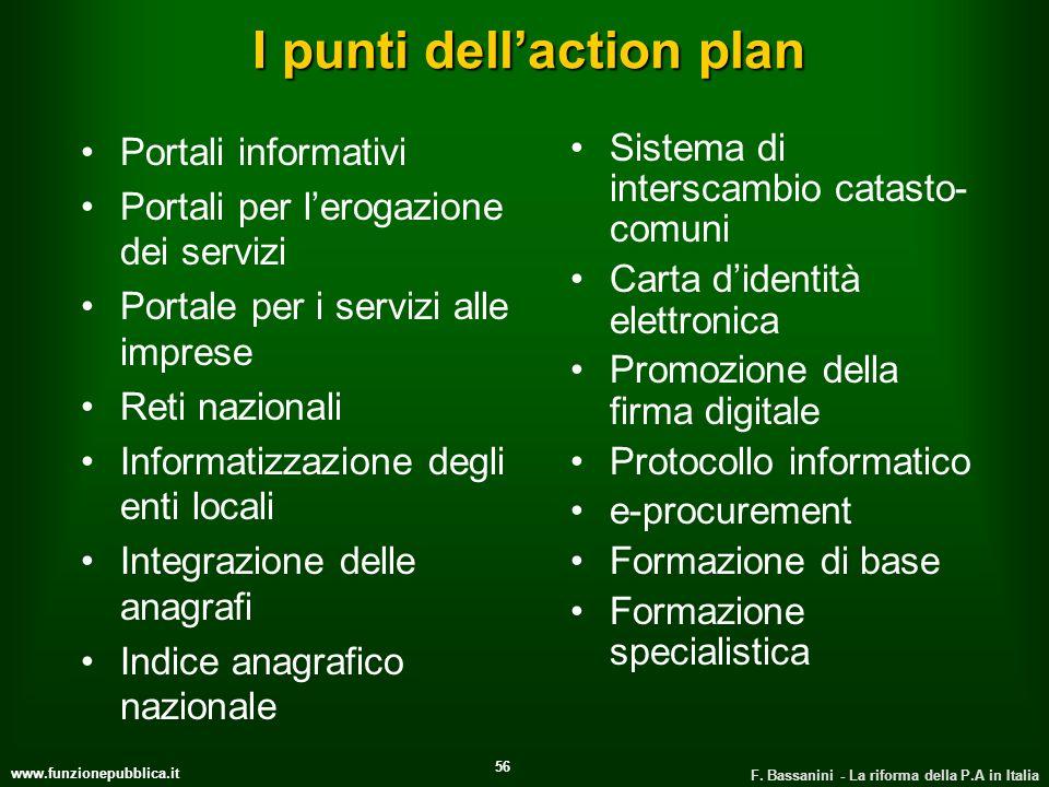 www.funzionepubblica.it F. Bassanini - La riforma della P.A in Italia 56 I punti dellaction plan Portali informativi Portali per lerogazione dei servi