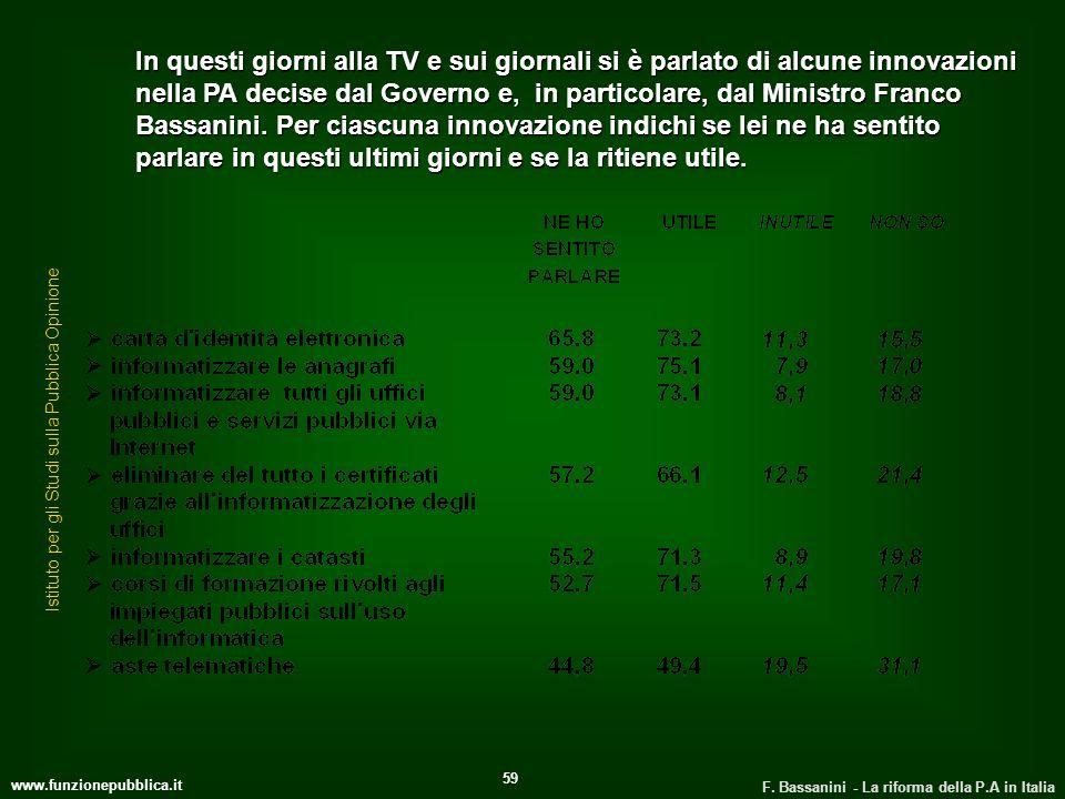 www.funzionepubblica.it F. Bassanini - La riforma della P.A in Italia 59 In questi giorni alla TV e sui giornali si è parlato di alcune innovazioni ne