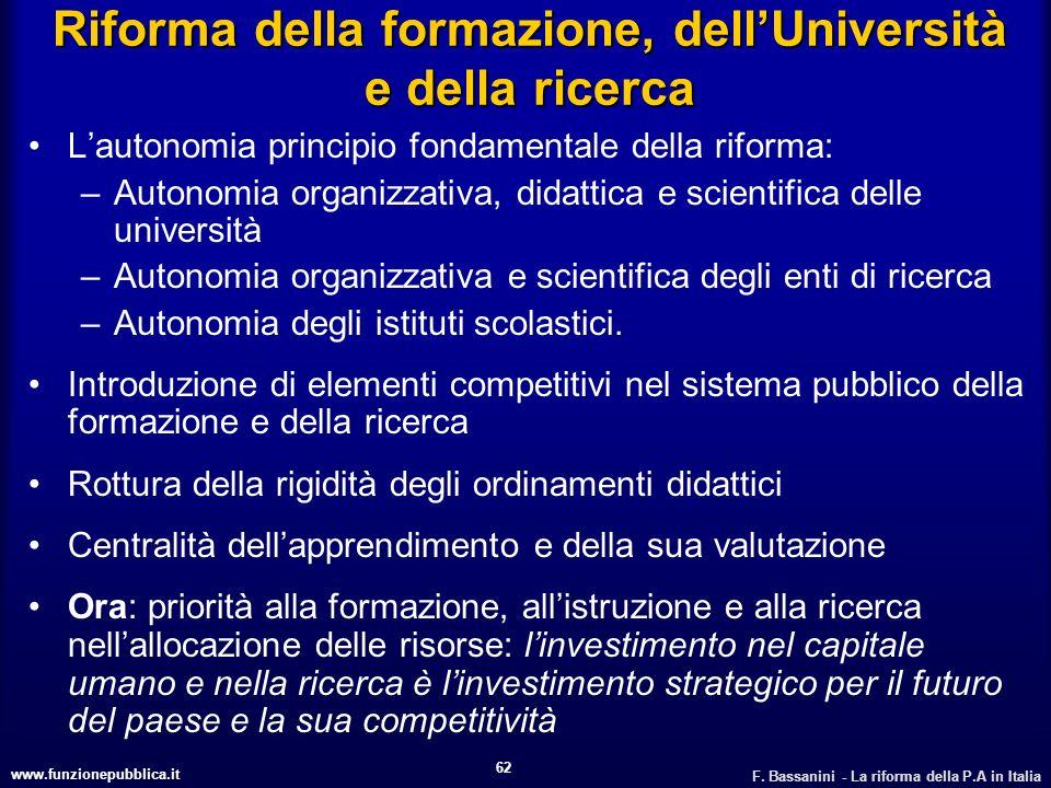 www.funzionepubblica.it F. Bassanini - La riforma della P.A in Italia 62 Riforma della formazione, dellUniversità e della ricerca Lautonomia principio