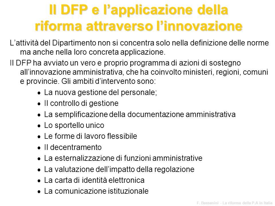 www.funzionepubblica.it F. Bassanini - La riforma della P.A in Italia 63 Il DFP e lapplicazione della riforma attraverso linnovazione Lattività del Di