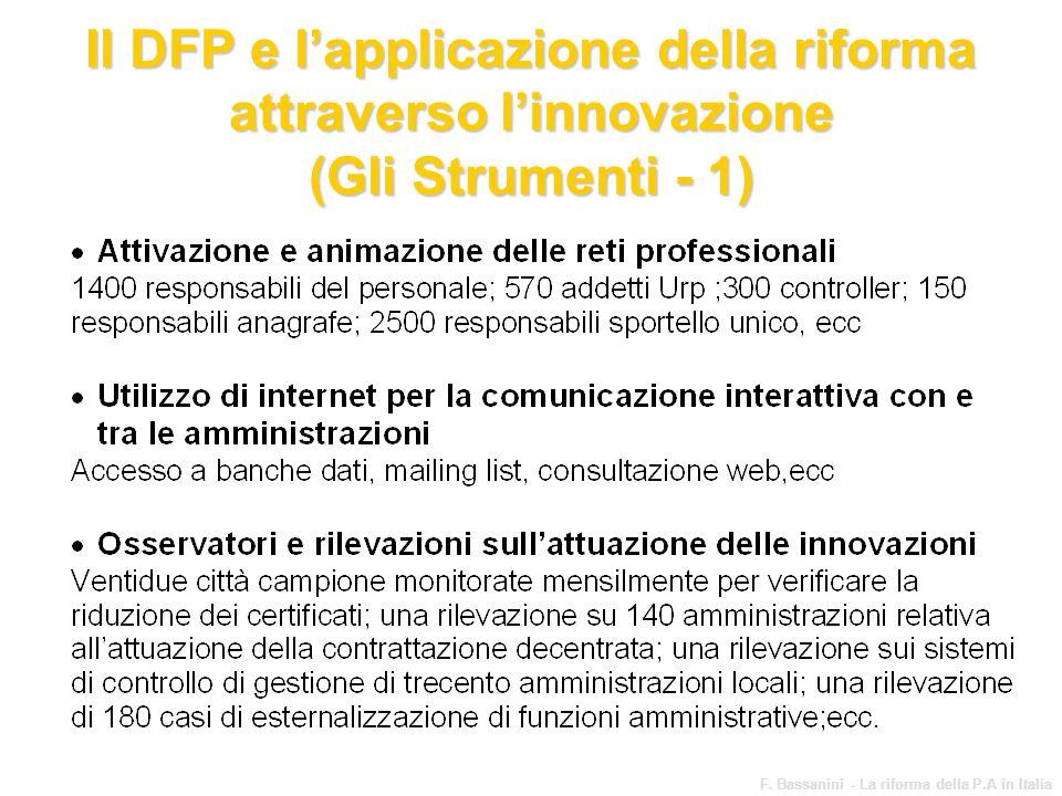 www.funzionepubblica.it F. Bassanini - La riforma della P.A in Italia 64 Il DFP e lapplicazione della riforma attraverso linnovazione (Gli Strumenti -