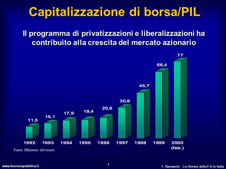 www.funzionepubblica.it F. Bassanini - La riforma della P.A in Italia 7 Il programma di privatizzazioni e liberalizzazioni ha contribuito alla crescit