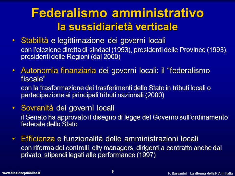 www.funzionepubblica.it F. Bassanini - La riforma della P.A in Italia 8 Federalismo amministrativo la sussidiarietà verticale Stabilità e legittimazio