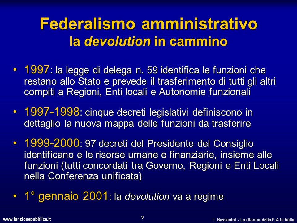 www.funzionepubblica.it F. Bassanini - La riforma della P.A in Italia 9 Federalismo amministrativo la devolution in cammino 1997 : la legge di delega