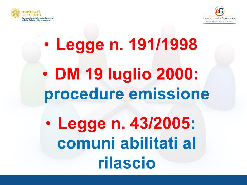 Legge n. 191/1998 DM 19 luglio 2000: procedure emissione Legge n. 43/2005: comuni abilitati al rilascio