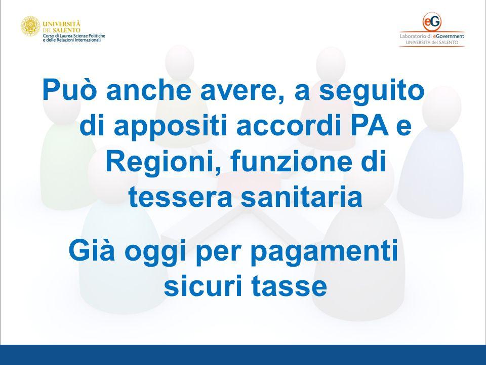 Può anche avere, a seguito di appositi accordi PA e Regioni, funzione di tessera sanitaria Già oggi per pagamenti sicuri tasse