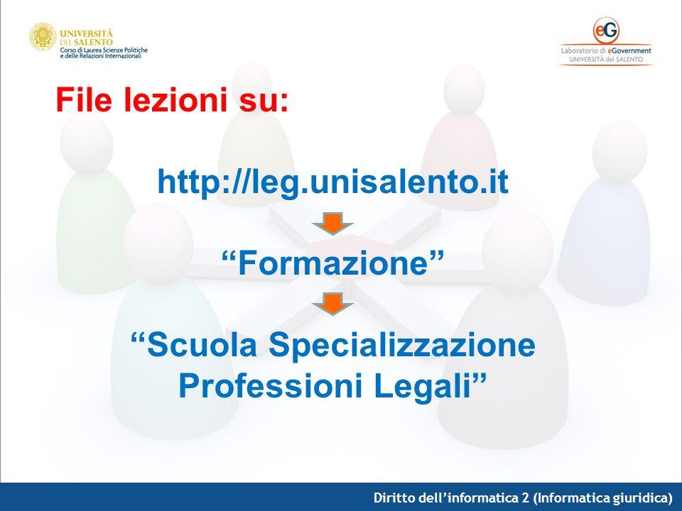 Diritto dellinformatica 2 (Informatica giuridica) File lezioni su: http://leg.unisalento.it Formazione Scuola Specializzazione Professioni Legali