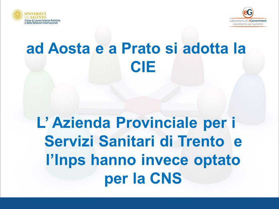 ad Aosta e a Prato si adotta la CIE L Azienda Provinciale per i Servizi Sanitari di Trento e lInps hanno invece optato per la CNS