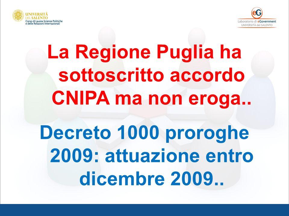 La Regione Puglia ha sottoscritto accordo CNIPA ma non eroga.. Decreto 1000 proroghe 2009: attuazione entro dicembre 2009..