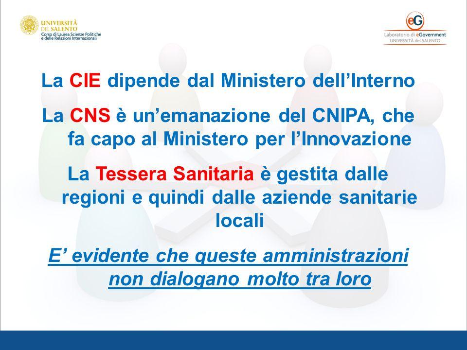 La CIE dipende dal Ministero dellInterno La CNS è unemanazione del CNIPA, che fa capo al Ministero per lInnovazione La Tessera Sanitaria è gestita dal