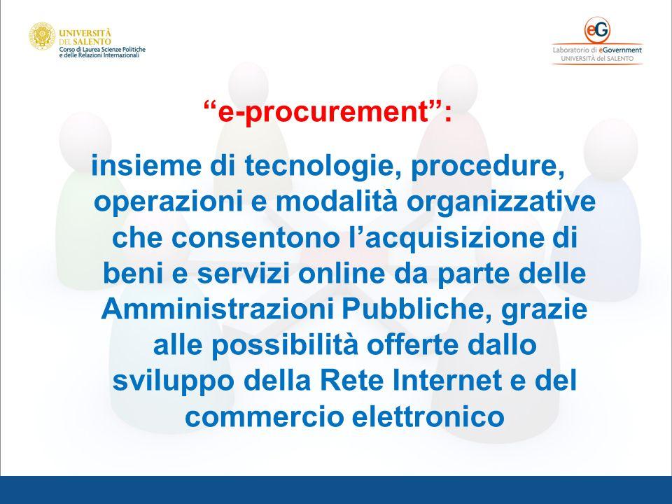 e-procurement: insieme di tecnologie, procedure, operazioni e modalità organizzative che consentono lacquisizione di beni e servizi online da parte de