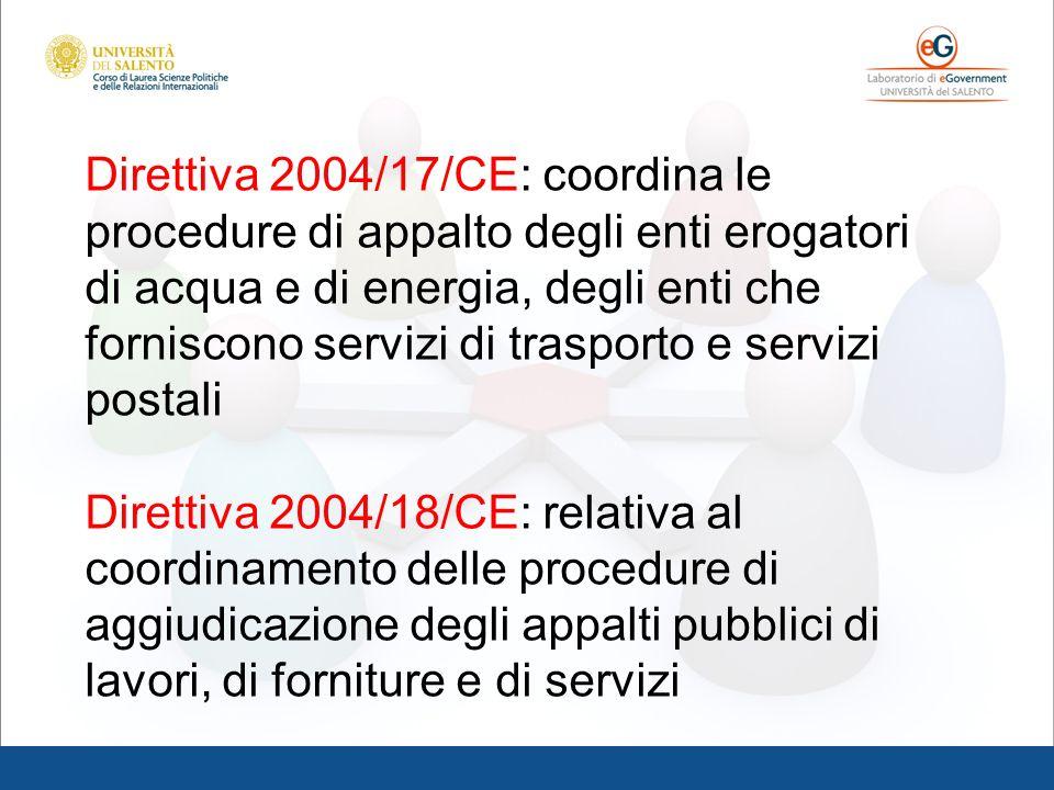 Direttiva 2004/17/CE: coordina le procedure di appalto degli enti erogatori di acqua e di energia, degli enti che forniscono servizi di trasporto e se