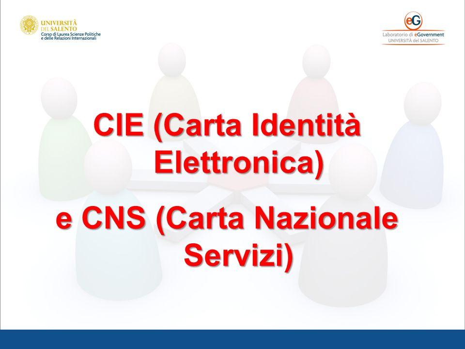 CIE (Carta Identità Elettronica) e CNS (Carta Nazionale Servizi)
