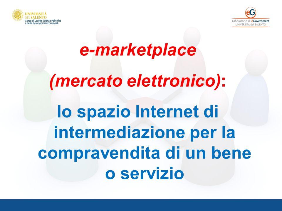 e-marketplace (mercato elettronico): lo spazio Internet di intermediazione per la compravendita di un bene o servizio